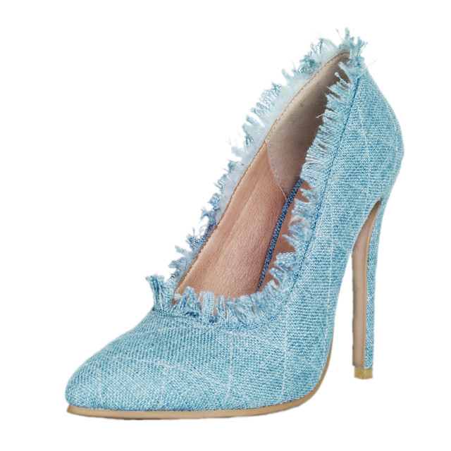 WHOLESALE CHINA FACTORY <strong>HEELS</strong> DENIM POINTED TOE HIGH <strong>HEELS</strong> WOMEN <strong>HEELS</strong>