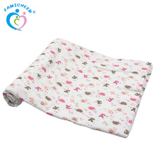Famicheer 4 Layer Wholesale Custom Print Cotton Muslin Swaddle Blanket Baby Quilt Bath Towel