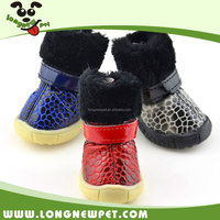 Thicken Fleece Dog Winter Shoes Stone Pattern Snow Boots Leather Dog Boots