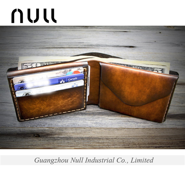 Fashion portable male purses mens leather wallet with coin slot
