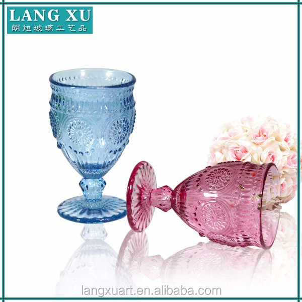 Trade Assurance handmade pressed sunflower embossed colored thick stem heavy crystal wine glass