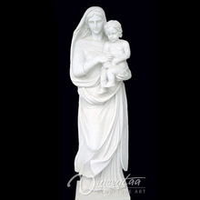 Classic garden sculpture life size marble mary and baby jesus statue hot sale