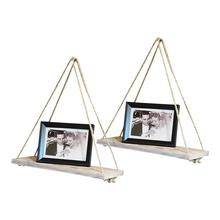 Rustic Farmhouse <strong>Shelves</strong>, 2 Pack Distressed Whitewash Wood, Hanging Rope <strong>Shelf</strong>