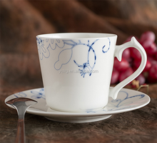 Ceramic porcelain/Bone china coffee cup and saucer sets in blue flower decals