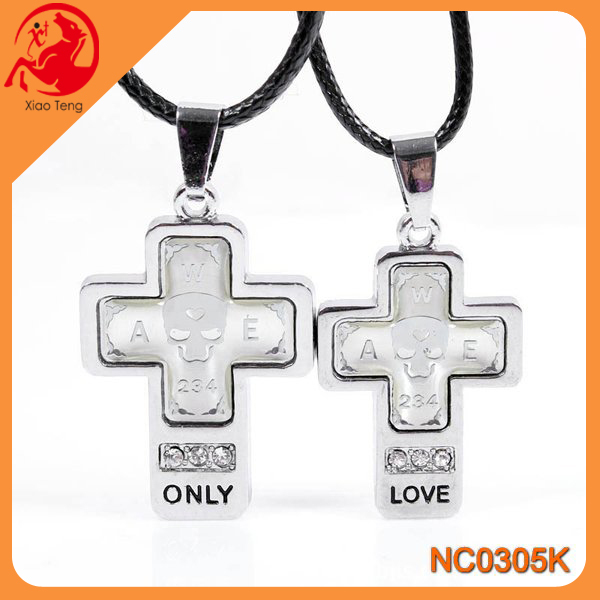 Modern fashion necklace flat Cross shape pendant for couple friendship best friend forever pendant necklace