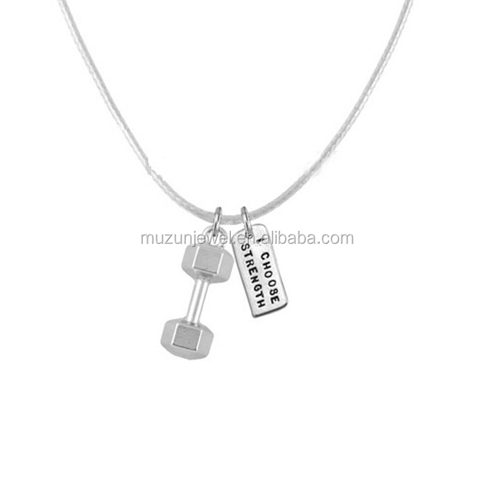 Fintness jewelry 925 sterling silver Dumbbell charm pendant necklace