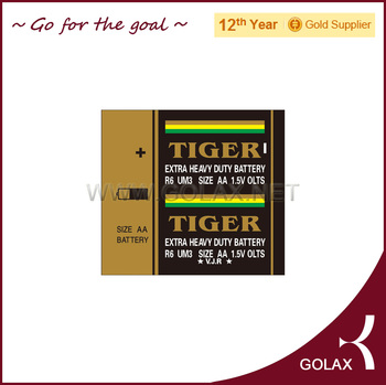 AA R06 UM3 dry battery TIGER golden brand 1.5volt
