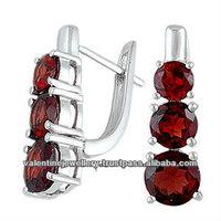 larest online silver earirng catalog for, red garnet english clasp lock earring, standard european style gemstone silver earring