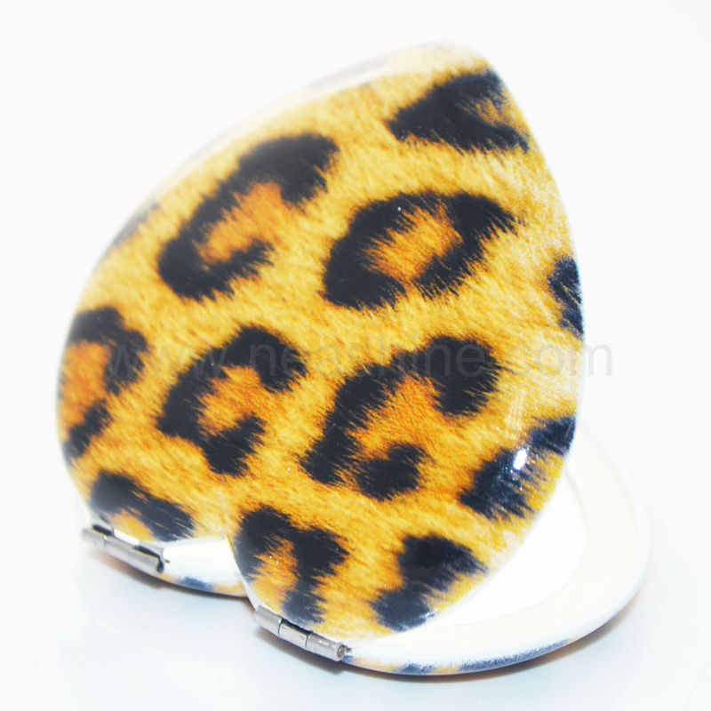 Heart shaped leopard printed handheld makeup mirror