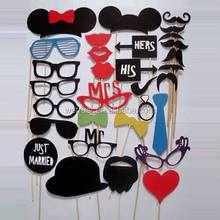 Party Photo Booth Prop 31pcs Mustache on a Stick Set Props