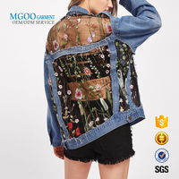 Embroidered mesh transparent sexy Jacket Boyfriend style denim Jacket woman wholesale