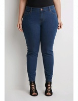 Royal wolf denim garment factory Dark blue Washed women Plus Size Classic Skinny Jeans