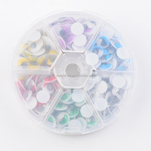 Mixed Color Plastic Wiggle Googly Eyes Cabochons DIY Scrapbooking Crafts Toy Accessories, with Label Paster on Back