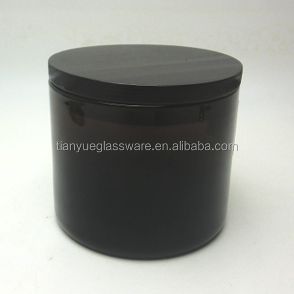 Dark Amber Glass Candle Jar With Black Wood Sealed Lid