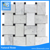 High Quality White Polished Carrara Basketweave Black Dot Marble Mosaic Tile