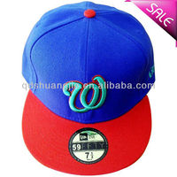 Custom Two Tone 3D Embroidery Flat Brim Hats For Sale