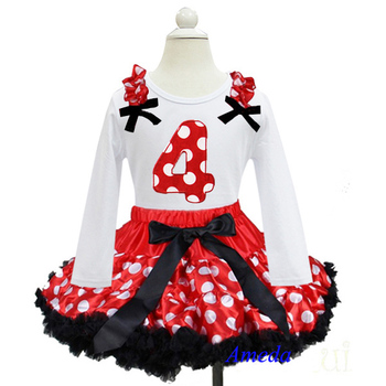 Red White Polka Dots Black Trim Pettiskirt with 4th Birthday White Long Sleeves Tee 1-7Y
