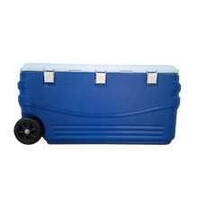 Large plastic insulation cooler box with handle and wheels for camping, fishing, travel, ficnic