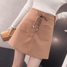 X80540B New model winter korean sexy lady short skirt A-line suede mature ladies skirts