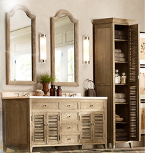 Free standing mirrored bathroom cabinet with double sink