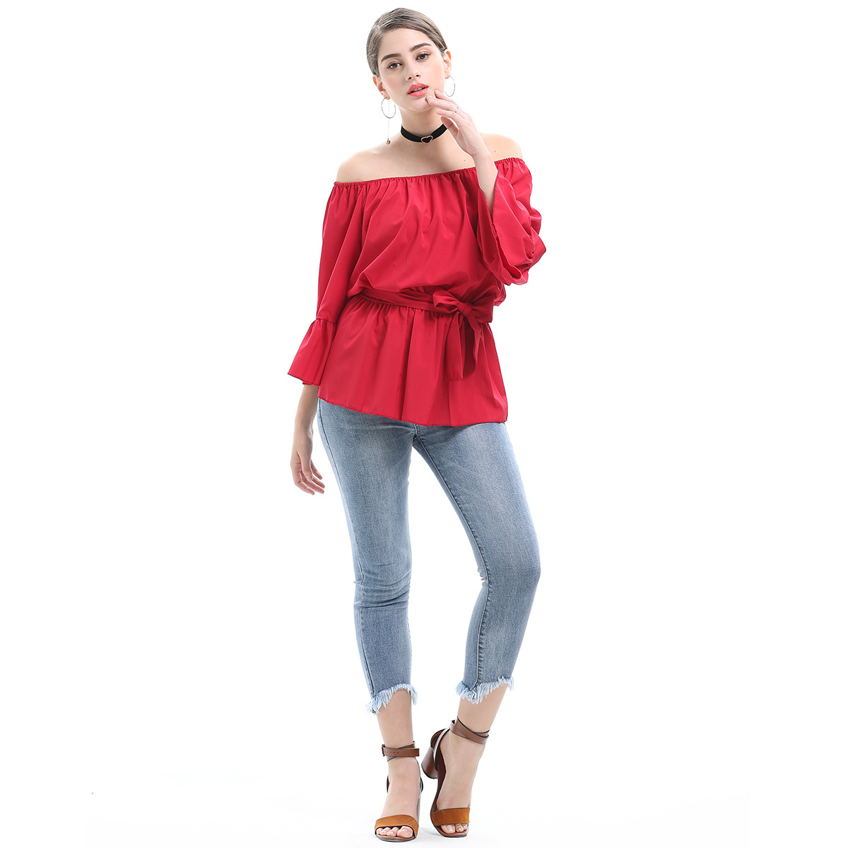 2018 new European and American style large size women's trumpet sleeves collar waist solid color women's T-shirt tops