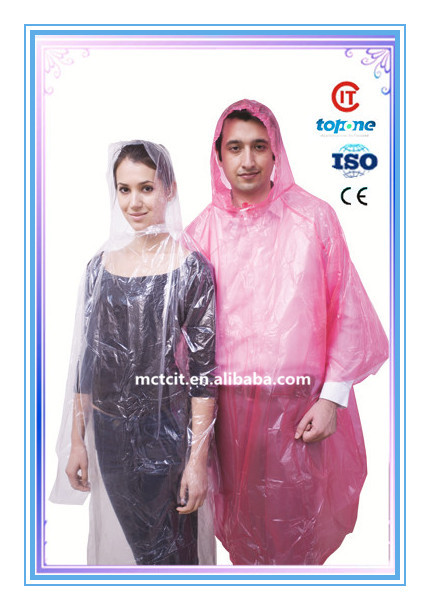 Disposable cheap clear waterproof rain coat plastic PE poncho