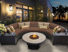 2016 new elegant hotel home outdoor rattan furniture with 7 seater and fire pit sofa half round