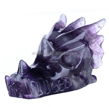 hot sale 100% natural fluorite quartz crystal skull hand carved dragon crystal skull for sale