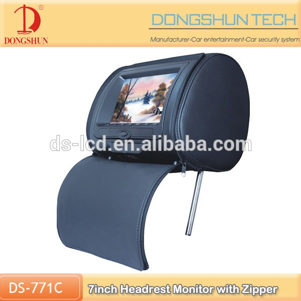 Factory price 7 inch car headrest monitor with zipper,car screen