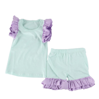 American Children Plain Clothing Set Match Ruffle Sets High Quality Cotton Clothes Western Teen Girl Boutique Outfit