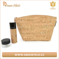 Green Field recycle cork leather makeup bag natural wood cork material cosmetic bag