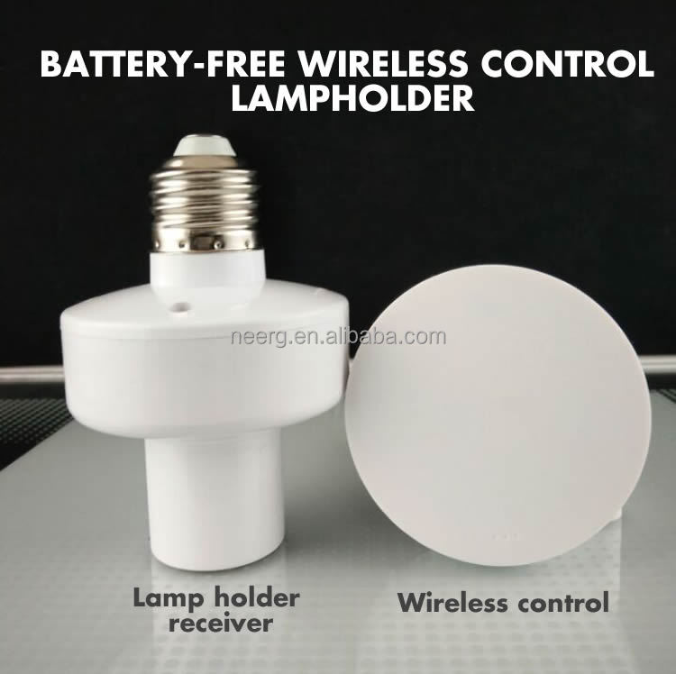 Battery Free Self-powered Wireless Remote Control E27 Lamp Holder