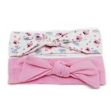 Various bow baby/kids wide elastic cotton headbands printed stretch headbands
