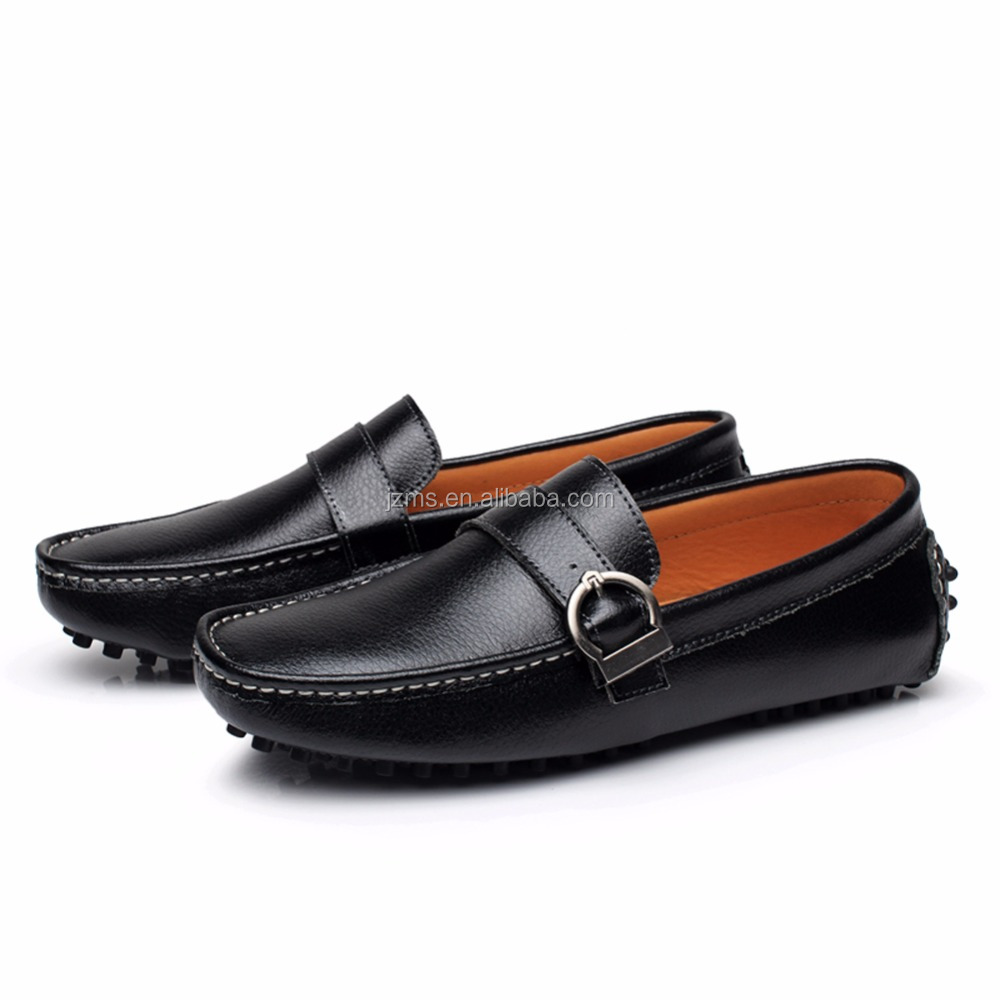 Rismart Men's Buckle Fashion Comfort Leather Driving Loafers Shoes