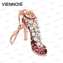 Viennois hot sale jewelry dancee shoes keychain with peal and crystal for ladies & girl