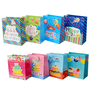 Wholesale Cheap Custom Happy Birthday Party Favor Paper Gift Bags For Kids With Ribbon Handles Logo Print Shopping Bag