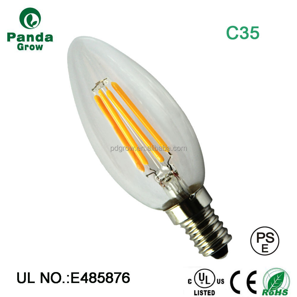 c35 led bulb CCT 2700-3000k 4 watt 440lm led candle light input AC85-265v led filament lamp