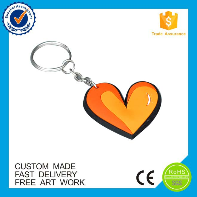 Hot sale custom heart shape soft pvc rubber keychain