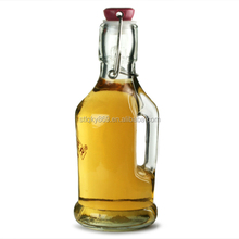 lyT1435 Unique Shaped Glass Wine Bottle Kilner Handled Clip Top Bottle 200ml Glass Bottle With Handle