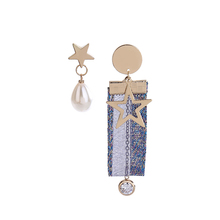 Korean style pearl five-pointed star lace asymmetrical earrings female wild fabric diamond earrings