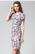 Free Shipping Hign Quality Ladies Office Wear Custom Printed <strong>Dresses</strong> S-2XL