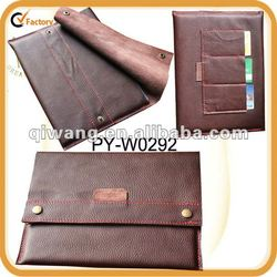 soft genuine brown leather sleeve case for new ipad with contrast thread