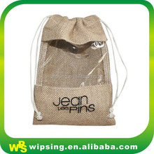 Custom jute packaging pouch with window