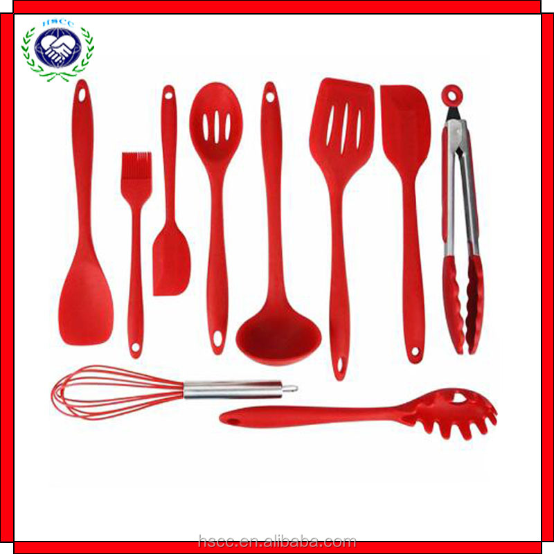 2016 hot sale 10pcs food grade silicone kitchen utensils, kitchen accessories,silicone cooking sets