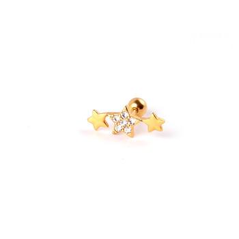 Fashion gold triple stars crystal barbell earrings stud jewelry piercing cartilage plug