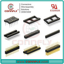 Top level 1.27, 2.0, 2.54mm smt dip sip R/A type female ic socket connector with UL CE FCC certificated