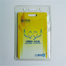 Quick delivery waterproof transparent pvc soft cheap card holder with hole