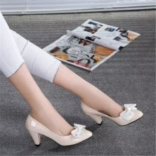 famous designer cute bowknot patent leather calfskin women dress shoes no minimum