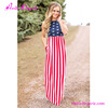 Wholesale Summer American Flag Clothing Printed Maxi Dress Woman