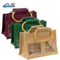 hand made jute bag with bamboo handle